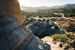 Rocks and view of Vasquez Rocks County Park, in Agua Dulce, California. - stock photo