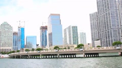 Miami Skyline. Brickell Key Stock Footage