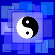 Stock Illustration of Ying yang icon. Internet button on abstract background..