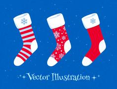 Christmas socks set Stock Illustration