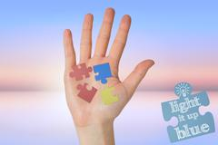 Composite image of hand with fingers spread out - stock illustration