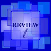 Review icon. Internet button on abstract background.. - stock illustration