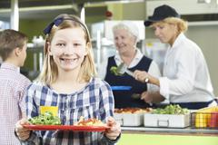Female Pupil With Healthy Lunch In School Canteen Stock Photos