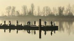 Steveston Harbor Dock Early Morning Fishermen Stock Footage