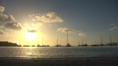 Water Island Beach at Sunset in St Thomas Stock Footage
