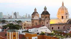 Time-lapse Cartagena, Colombia skyline. Historic city center, bocagrande and por Stock Footage