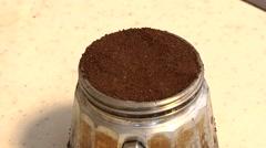 Italian coffee and the moca cofeepot. Stock Footage