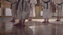 Group of people practicing karate kata,dolly shot Stock Footage
