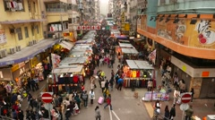 Wide angle view on the street with shopping stalls Stock Footage