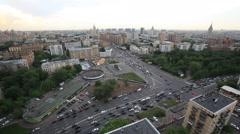 MOSCOW.RUSSIA-2013: Above view of the crossroad on the Presnenskiy val street Stock Footage