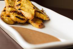 Chicken Satay Spicy Peanut Sauce - stock photo