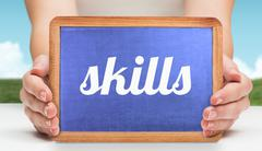 Skills against field and sky Stock Photos
