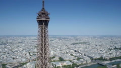 Aerial view of Eiffel tower with Paris in background Stock Footage