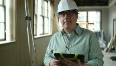 Portrait of Architect on Job site with Tablet Stock Footage