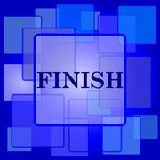 Finish icon. Internet button on abstract background.. - stock illustration