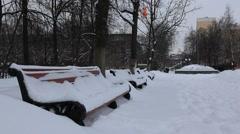Zhekeznodorozny. Bench covered with snow. Winter 2012 Stock Footage