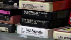 Led Zeppelin 8 track tapes - stock footage