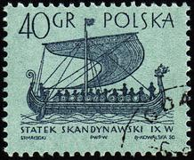 Stock Photo of Scandinavian ship on post stamp