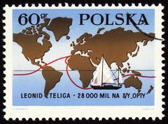 World tour of polish yachtsman Leonid Teliga on post stamp Stock Photos