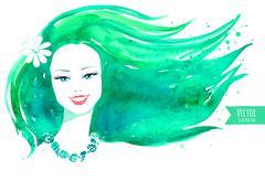 Watercolor girl. Vector illustration Stock Illustration
