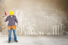 Composite image of male repairman holding drill machine and hammer Kuvituskuvat