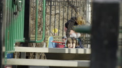 children playing, playground jungle gym bars slide Washington Square Park 4K NYC - stock footage