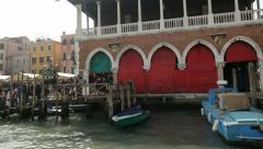 Old and historical Rialto food markets in Venice viewed from boat Stock Footage