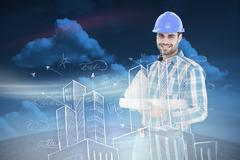 Composite image of confident architect holding bluprint and clipboard - stock illustration