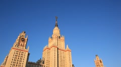MOSCOW.RUSSIA-2013: MGU building. Early morning. Low angle view. Stock Footage