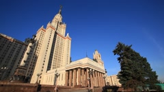 MOSCOW.RUSSIA-2013: MGU building.Low angle view Stock Footage