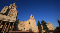 MOSCOW.RUSSIA-2013: MGU building. Panorama. Low angle view Stock Footage