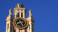 MOSCOW.RUSSIA-2013: MGU building.Clock tower Stock Footage