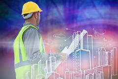 Stock Illustration of Composite image of casual architect