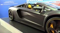 4k Mansori Lamborghini Aventador Carbonado motorshow Stock Footage