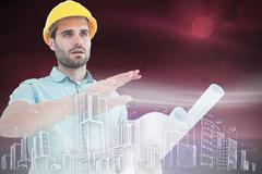 Composite image of architect with blueprint gesturing on white background - stock illustration