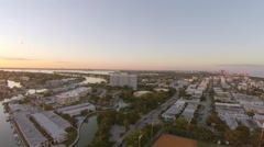 Flying Above Miami Beach Suburb at Sunset Stock Footage