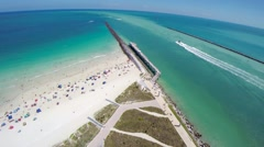 Flying Above the End of South Beach Stock Footage