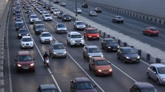 MOSCOW.RUSSIA-2013: Every day traffic jam, in the end of the day - stock footage