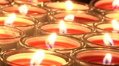 Red candles close up Stock Footage