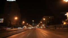 MOSCOW.RUSSIA-2013: Car point of view. Night on Third Transport Ring Stock Footage