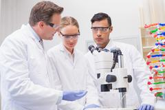 Scientists working attentively with microscope Stock Photos