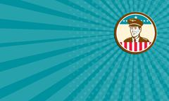 Business card Airline Pilot Aviator USA Flag Circle Retro Stock Illustration