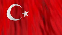 Flag of Turkey waving in the wind. Seamless looping. 3d generated. - stock footage