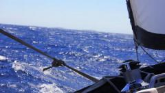 Sailing in the wind through the waves. Stock Footage