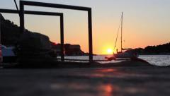 Sailboat in croatia during the sunset Stock Footage
