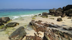 Rock beach with sea Stock Footage