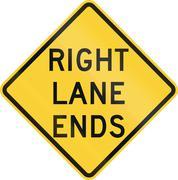 Right Lane Ends - stock illustration