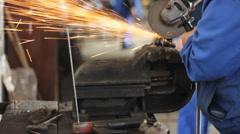 Men at Work Grinding steel 02 Stock Footage