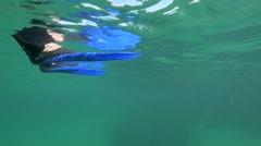 Snorkel Fins in water Stock Footage