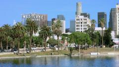 4K, UHD, Los Angeles Downtown Skyline Panorama and the Lake, California Stock Footage